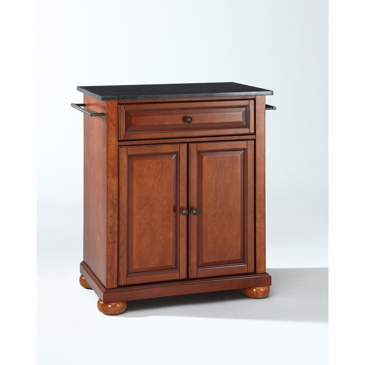 Crosley Furniture - Alexandria Solid Black Granite Top Portable Kitchen Island in Classic Cherry Finish - KF30024ACH