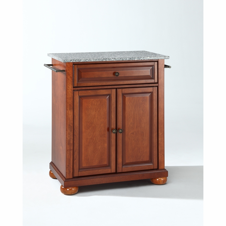 Crosley Furniture - Alexandria Solid Granite Top Portable Kitchen Island in Classic Cherry Finish - KF30023ACH
