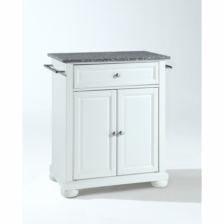 Crosley Furniture - Alexandria Solid Granite Top Portable Kitchen Island in White Finish - KF30023AWH