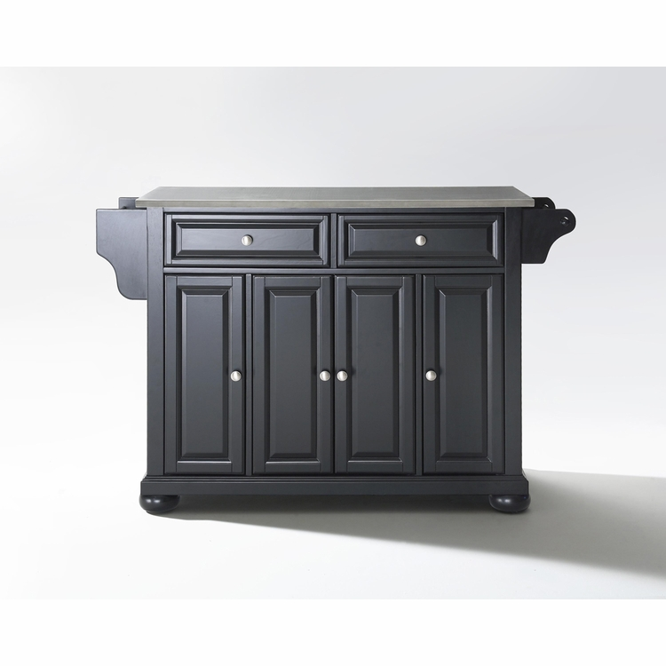 Crosley Furniture - Alexandria Stainless Steel Top Kitchen Island in Black Finish - KF30002ABK