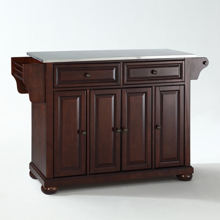 Crosley Furniture - Alexandria Stainless Steel Top Kitchen Island in Vintage Mahogany Finish - KF30002AMA