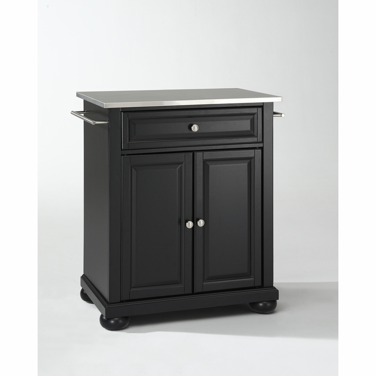 Crosley Furniture - Alexandria Stainless Steel Top Portable Kitchen Island in Black Finish - KF30022ABK
