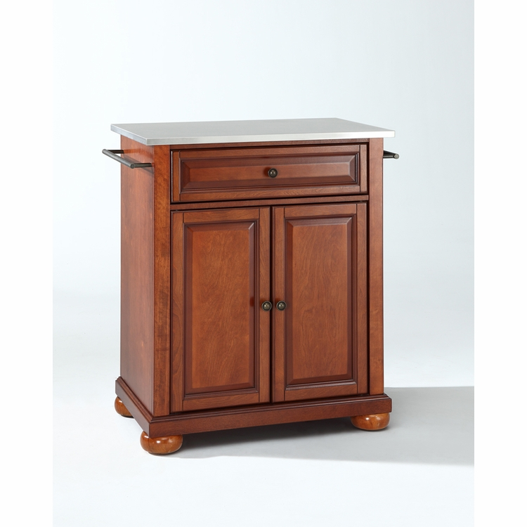 Crosley Furniture - Alexandria Stainless Steel Top Portable Kitchen Island in Classic Cherry Finish - KF30022ACH