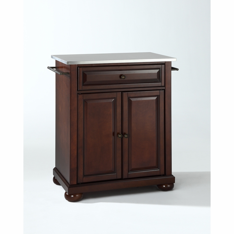 Crosley Furniture - Alexandria Stainless Steel Top Portable Kitchen Island in Vintage Mahogany Finish - KF30022AMA