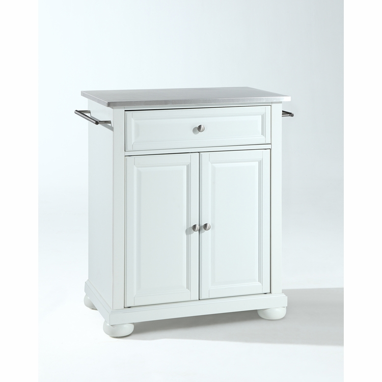 Crosley Furniture - Alexandria Stainless Steel Top Portable Kitchen Island in White Finish - KF30022AWH