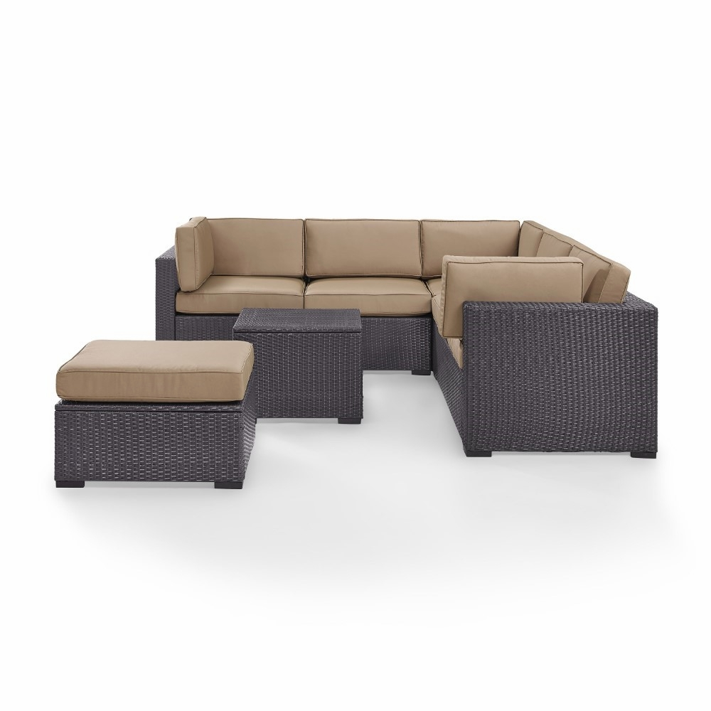 Marvelous Crosley Furniture Biscayne 6 Person Outdoor Wicker Seating Set In Mocha Two Loveseats One Corner Chair Coffee Table Ottoman Ko70106Br Mo Alphanode Cool Chair Designs And Ideas Alphanodeonline