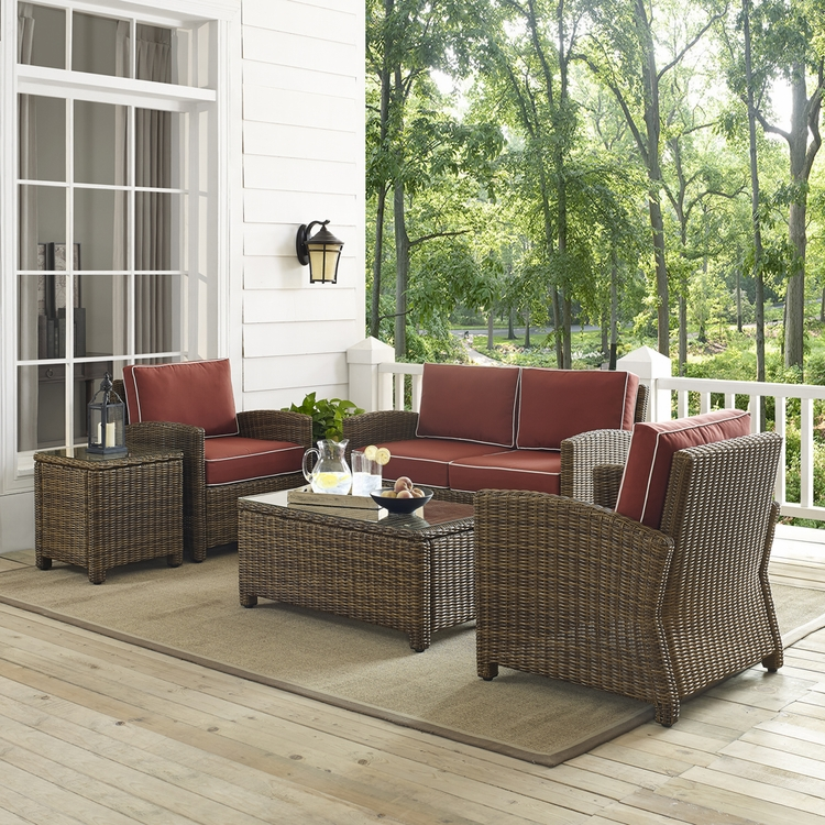 Crosley Furniture Bradenton 5 Piece Outdoor Wicker Conversation Set With Sangria Cushions Loveseat Two Arm Chairs Side Table Gl Top