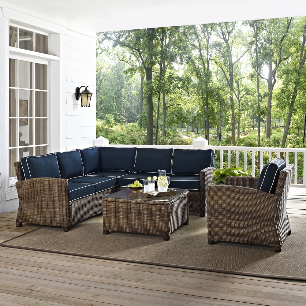 Crosley Furniture - Bradenton 5-Piece Outdoor Wicker Seating Set with Navy  Cushions - Right Corner Loveseat, Left Corner Loveseat, Corner Chair, Arm  ...