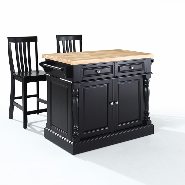 "Crosley Furniture - Butcher Block Top Kitchen Island in Black Finish with 24"" Black School House Stools - KF300062BK"