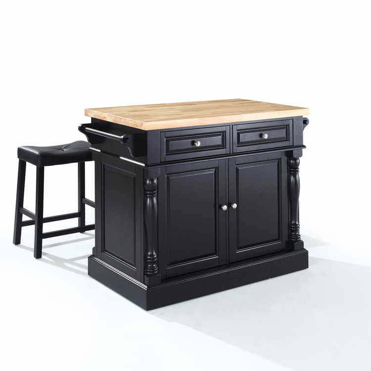 "Crosley Furniture - Butcher Block Top Kitchen Island in Black Finish with 24"" Black Upholstered Saddle Stools - KF300064BK"