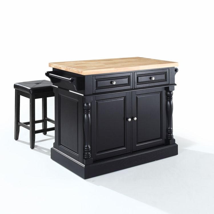 "Crosley Furniture - Butcher Block Top Kitchen Island in Black Finish with 24"" Black Upholstered Square Seat  Stools - KF300065BK"