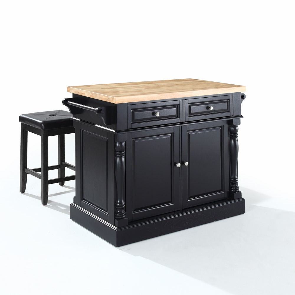 Crosley Furniture Butcher Block Top Kitchen Island In Black Finish With 24 Black Upholstered Square Seat Stools Kf300065bk