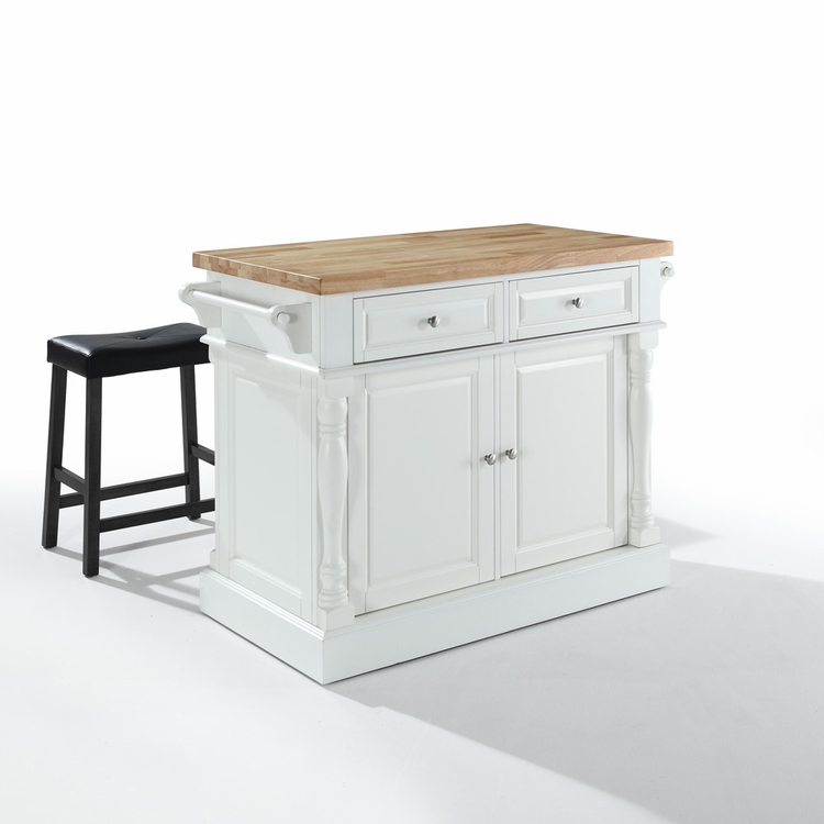 "Crosley Furniture - Butcher Block Top Kitchen Island in White Finish with 24"" Black Upholstered Saddle Stools - KF300064WH"