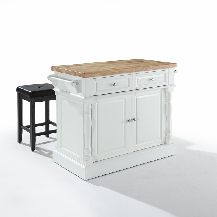"Crosley Furniture - Butcher Block Top Kitchen Island in White Finish with 24"" Black Upholstered Square Seat  Stools - KF300065WH"
