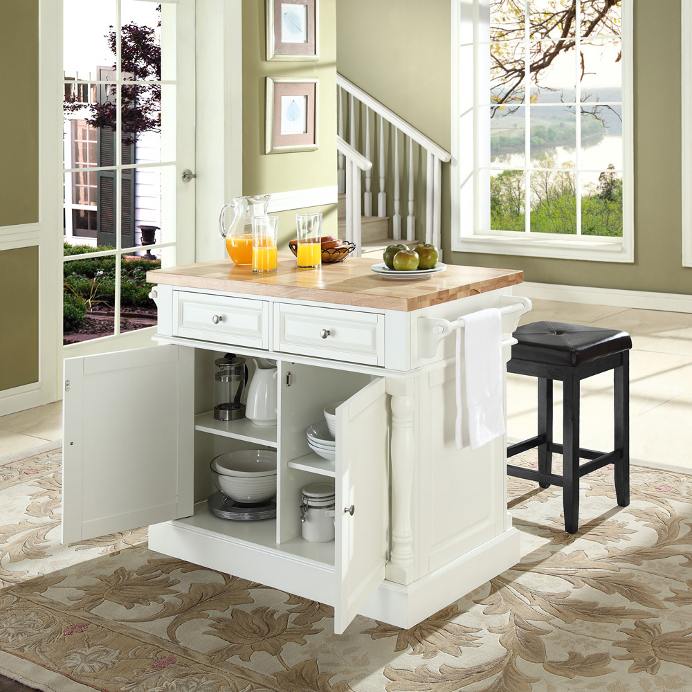 crosley butcher block top kitchen island crosley furniture butcher block top kitchen island in white finish with 24 quot black upholstered 793