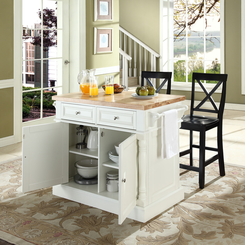 crosley butcher block top kitchen island crosley furniture butcher block top kitchen island in white finish with 24 quot black x back 6876