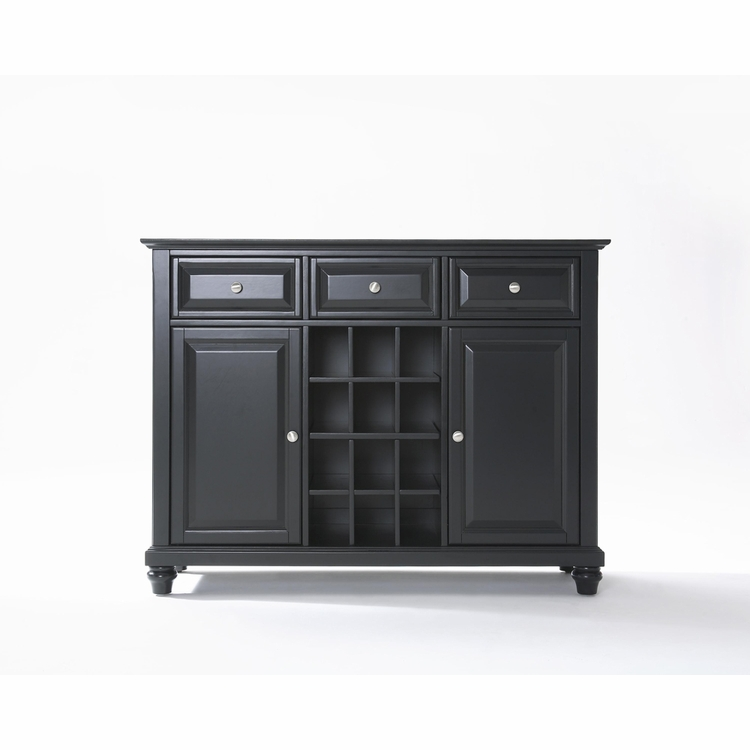 Crosley Furniture - Cambridge Buffet Server / Sideboard Cabinet with Wine Storage in Black Finish - KF42001DBK