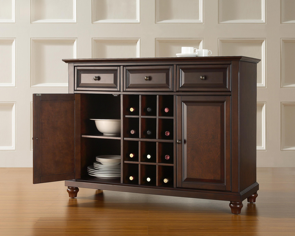 Crosley Furniture Cambridge Buffet Server Sideboard Cabinet With Wine Storage In Vintage Mahogany Finish Hover To Zoom