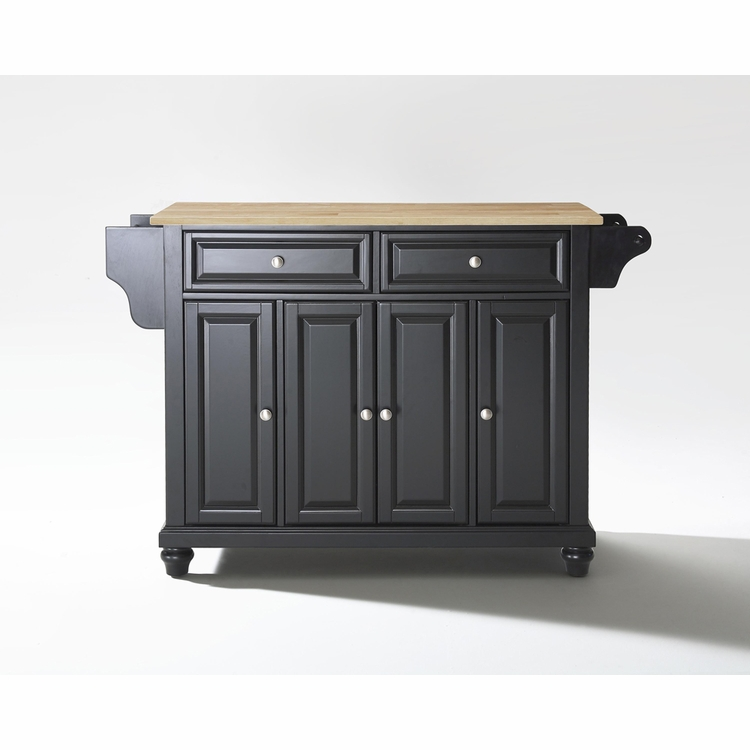 Crosley Furniture - Cambridge Natural Wood Top Kitchen Island in Black Finish - KF30001DBK