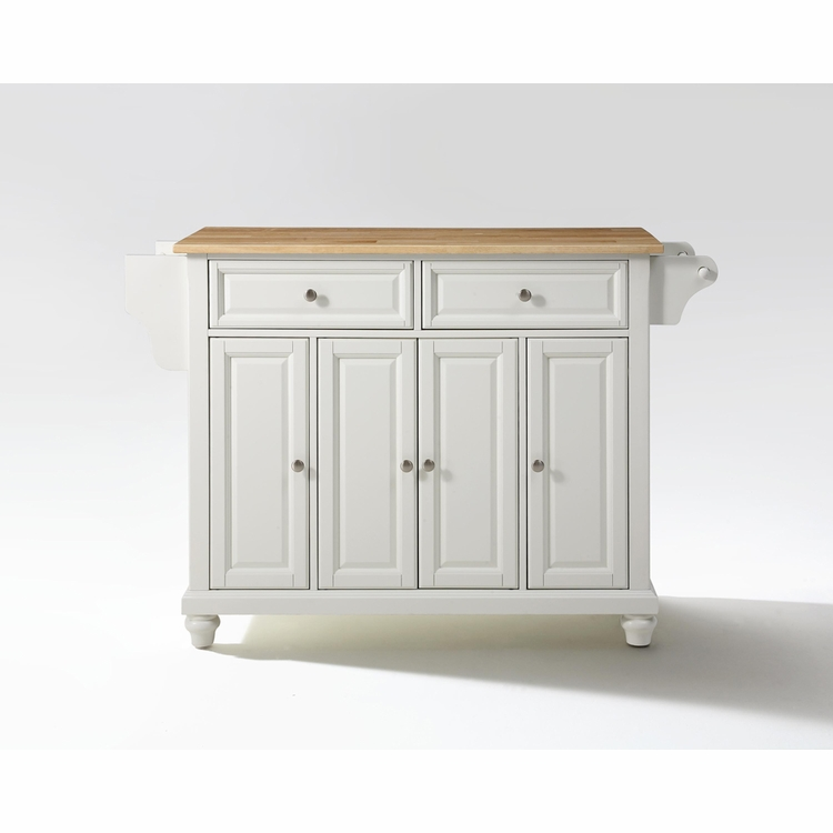 Crosley Furniture - Cambridge Natural Wood Top Kitchen Island in White Finish - KF30001DWH