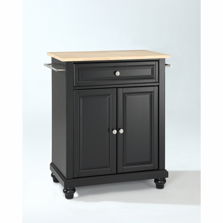 Crosley Furniture - Cambridge Natural Wood Top Portable Kitchen Island in Black Finish - KF30021DBK
