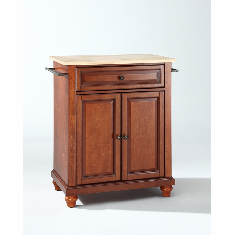 Crosley Furniture - Cambridge Natural Wood Top Portable Kitchen Island in Classic Cherry Finish - KF30021DCH