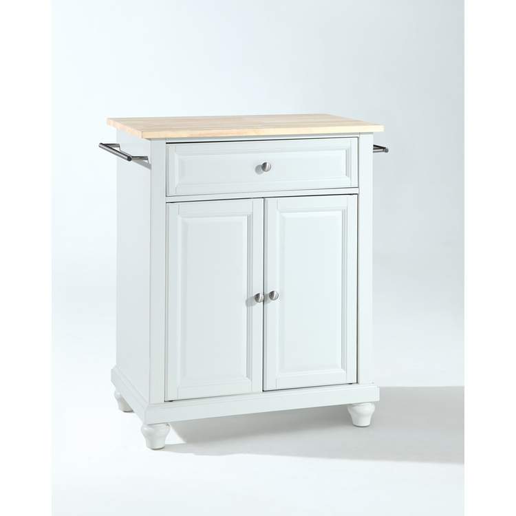 Crosley Furniture - Cambridge Natural Wood Top Portable Kitchen Island in White Finish - KF30021DWH