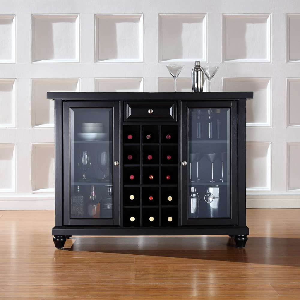 Crosley furniture cambridge sliding top bar cabinet in black finish kf40002dbk hover to zoom