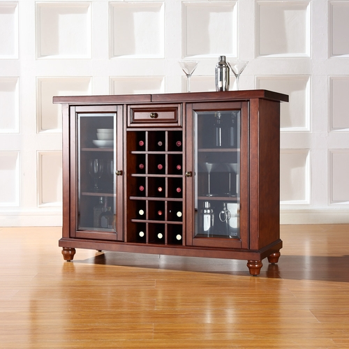 Crosley Furniture Cambridge Sliding Top Bar Cabinet In Vintage Mahogany Finish Kf40002dma
