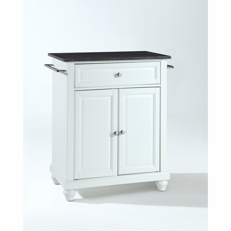 Crosley Furniture - Cambridge Solid Black Granite Top Portable Kitchen Island in White Finish - KF30024DWH