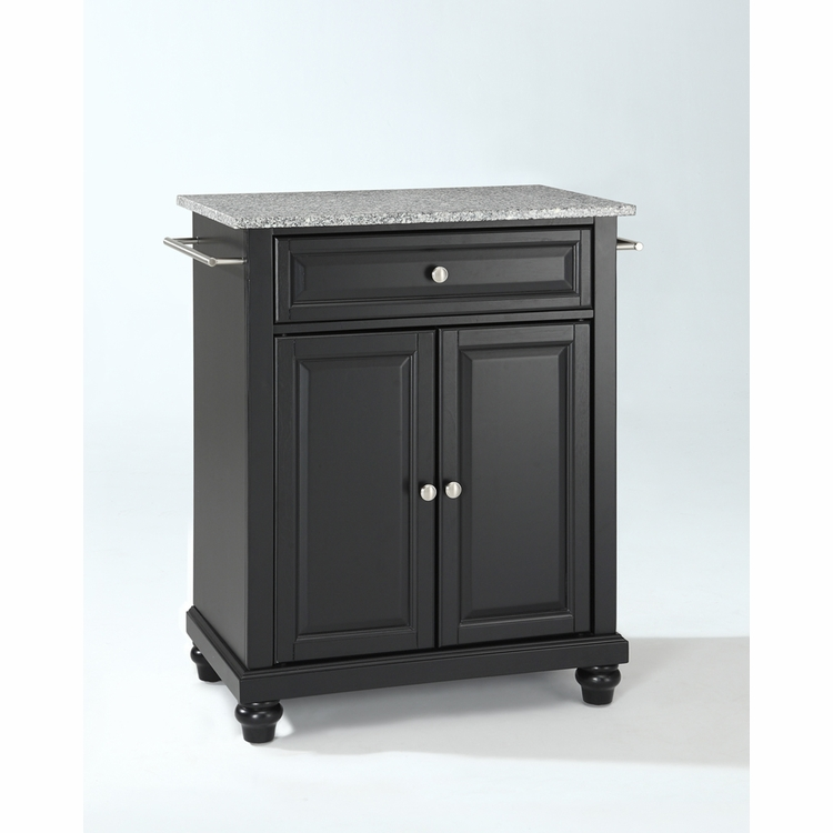 Crosley Furniture - Cambridge Solid Granite Top Portable Kitchen Island in Black Finish - KF30023DBK