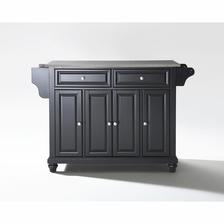 Crosley Furniture - Cambridge Stainless Steel Top Kitchen Island in Black Finish - KF30002DBK