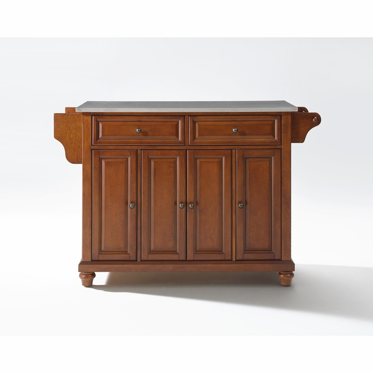 Crosley Furniture - Cambridge Stainless Steel Top Kitchen Island in Classic Cherry Finish - KF30002DCH