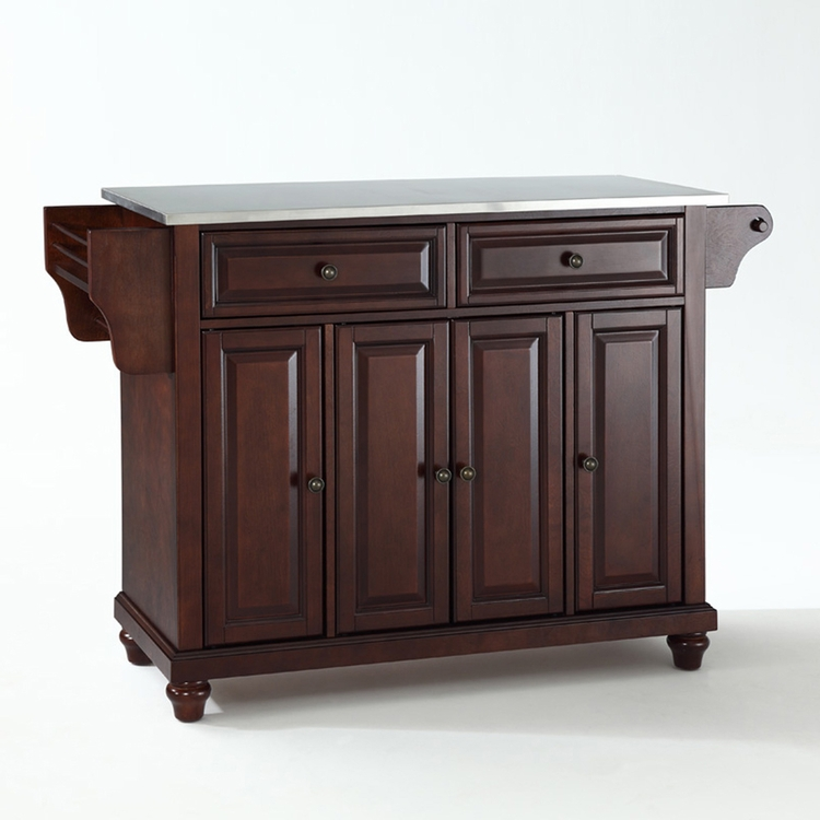 Crosley Furniture - Cambridge Stainless Steel Top Kitchen Island in Vintage Mahogany Finish - KF30002DMA