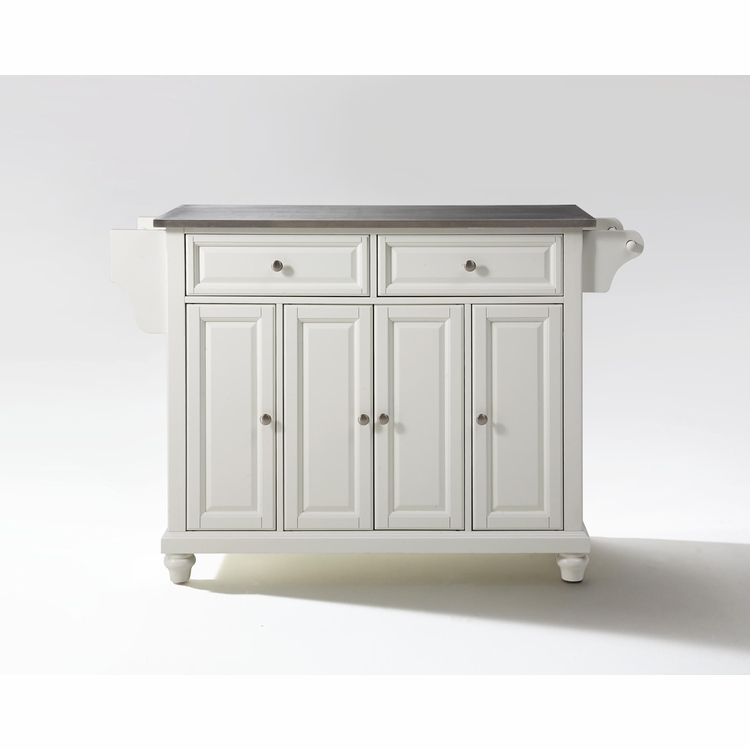 Crosley Furniture - Cambridge Stainless Steel Top Kitchen Island in White Finish - KF30002DWH