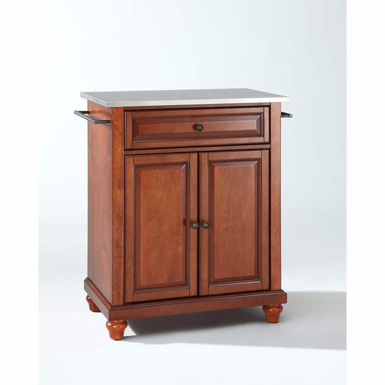 Crosley Furniture - Cambridge Stainless Steel Top Portable Kitchen Island in Classic Cherry Finish - KF30022DCH