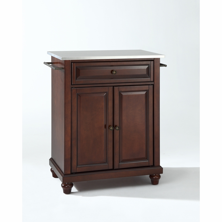 Crosley Furniture - Cambridge Stainless Steel Top Portable Kitchen Island in Vintage Mahogany Finish - KF30022DMA