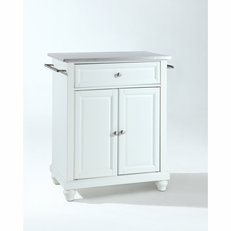 Crosley Furniture - Cambridge Stainless Steel Top Portable Kitchen Island in White Finish - KF30022DWH