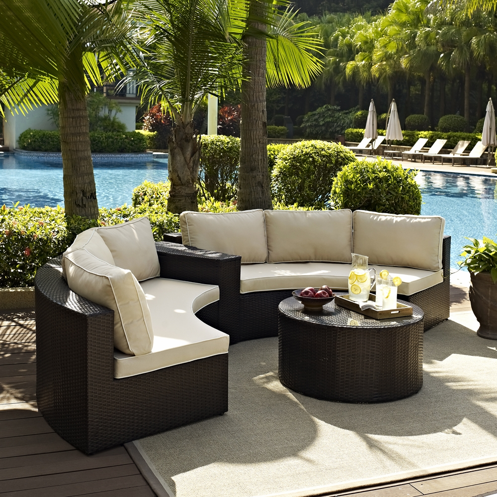 Crosley Furniture - Catalina 4 Piece Outdoor Wicker Seating Set with Sand  Cushions - Two Round Sectional Sofas, Arm Table, and Round Glass Top Coffee  ...