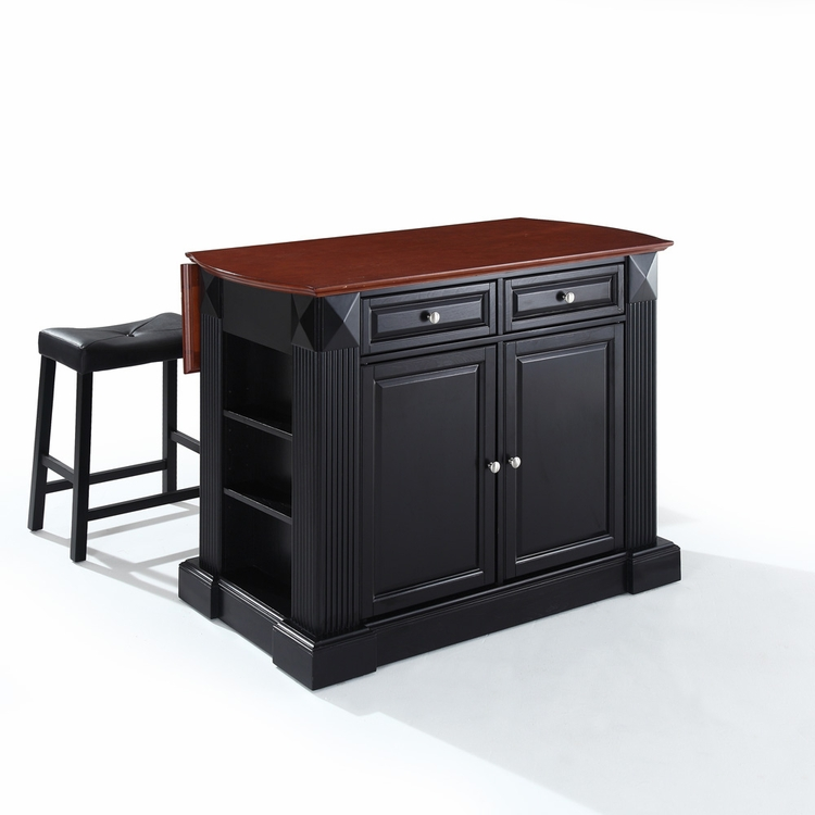 "Crosley Furniture - Drop Leaf Breakfast Bar Top Kitchen Island in Black Finish with 24"" Black Upholstered Saddle Stools - KF300074BK"
