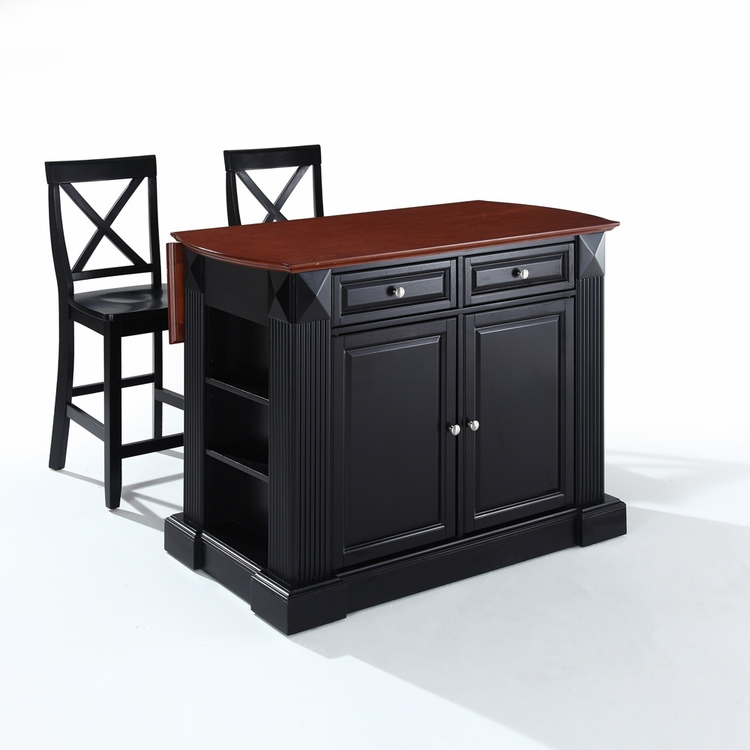 "Crosley Furniture - Drop Leaf Breakfast Bar Top Kitchen  Island in Black Finish with 24"" Black X-Back  Stools - KF300073BK"