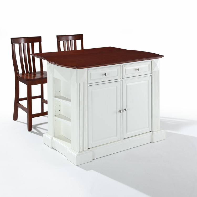 "Crosley Furniture - Drop Leaf Breakfast Bar Top Kitchen Island in White Finish with 24"" Cherry School House Stools - KF300072WH"