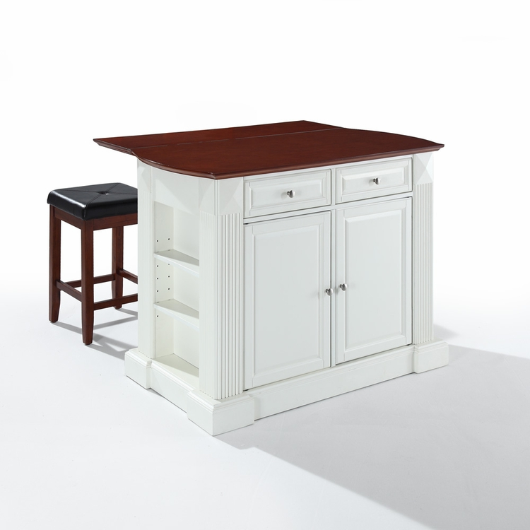 "Crosley Furniture - Drop Leaf Breakfast Bar Top Kitchen Island in White Finish with 24"" Cherry Upholstered Square Seat  Stools - KF300075WH"