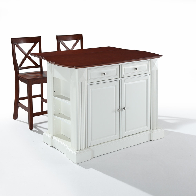 "Crosley Furniture - Drop Leaf Breakfast Bar Top Kitchen Island in White Finish with 24"" Cherry X-Back  Stools - KF300073WH"