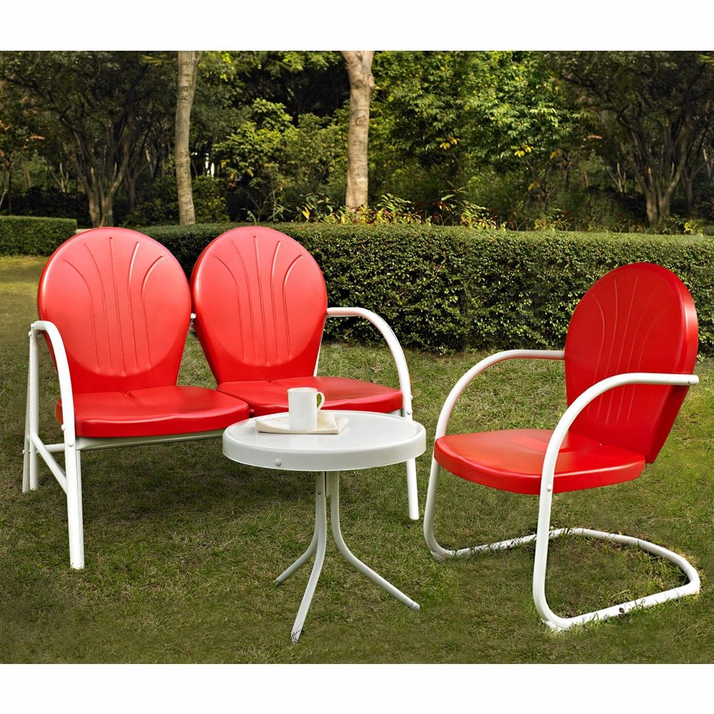 Crosley Furniture Griffith 3 Piece Metal Outdoor Conversation Seating Set Loveseat Chair In Red Finish With Side Table White