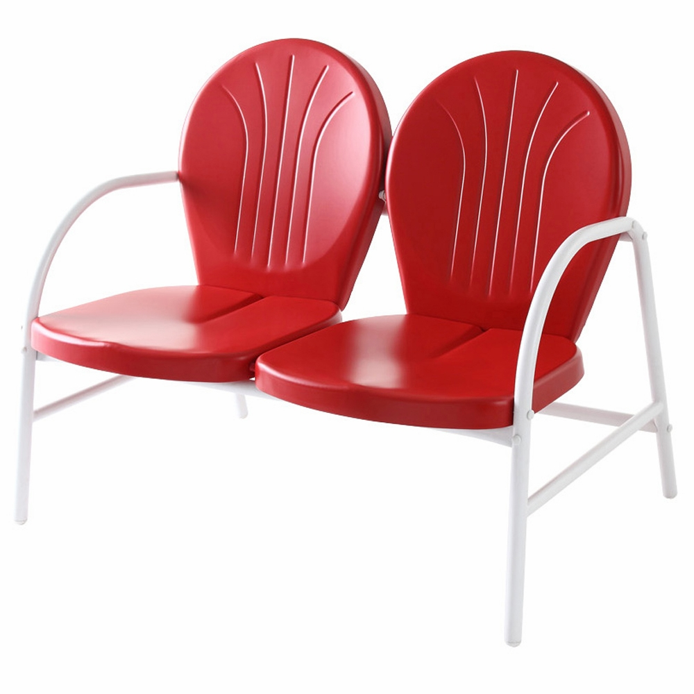 Crosley Furniture Griffith Metal Loveseat In Red Finish