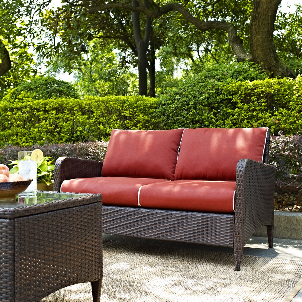 Crosley Furniture Kiawah Outdoor Wicker Loveseat With Sangria Cushions Co7117 Br