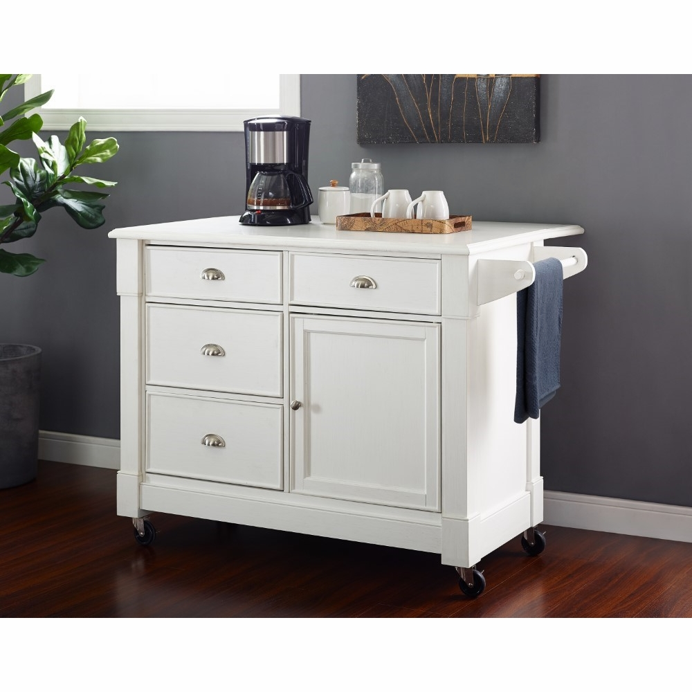Crosley Furniture - Lacey Kitchen Cart in Distressed White - CF3016-WH