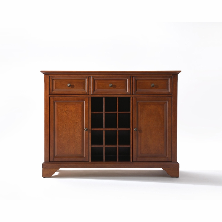 Crosley Furniture - LaFayette Buffet Server / Sideboard Cabinet with Wine Storage in Classic Cherry Finish - KF42001BCH