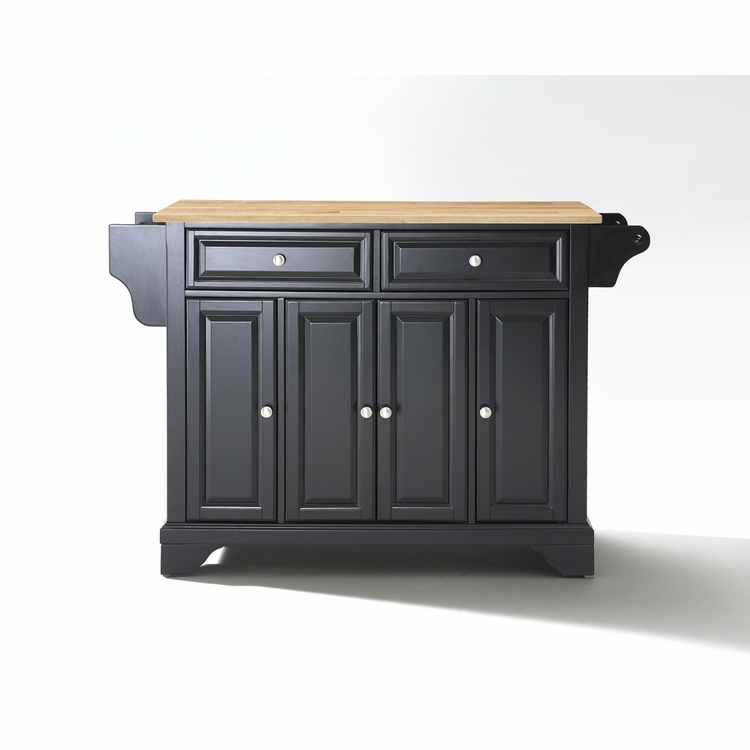 Crosley Furniture - LaFayette Natural Wood Top Kitchen Island in Black Finish - KF30001BBK